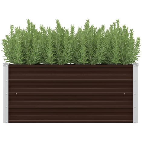 Garden Raised Bed Brown 100x40x45 cm Galvanised Steel