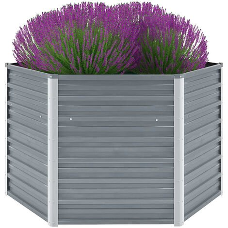 Garden Raised Bed Galvanised Steel 129x129x77 cm Grey