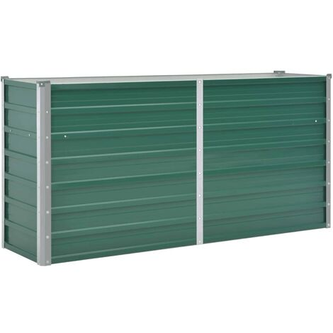 Garden Raised Bed Galvanised Steel 160x40x77 cm Green