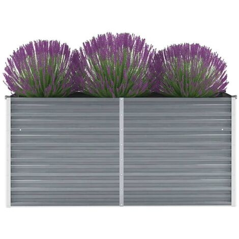 Garden Raised Bed Galvanised Steel 160x40x77 cm Grey