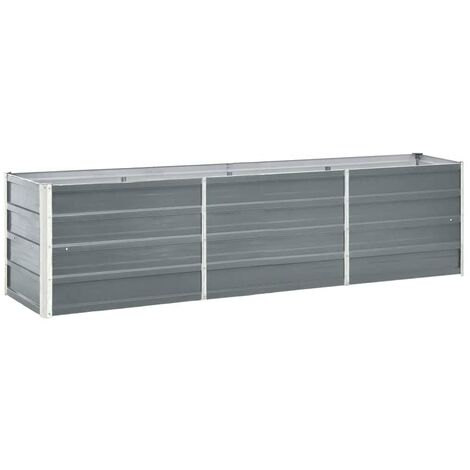 Garden Raised Bed Galvanised Steel 240x40x45 cm Grey
