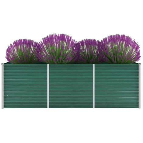 Garden Raised Bed Galvanised Steel 240x80x77 cm Green