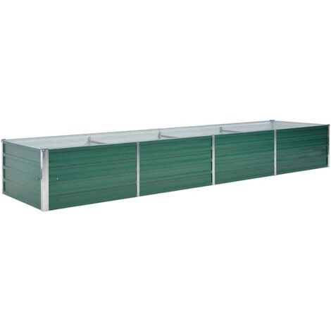 Garden Raised Bed Galvanised Steel 320x80x45 cm Green