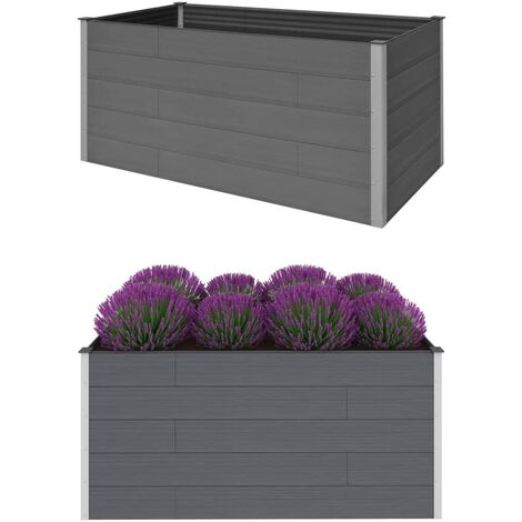 Garden Raised Bed Grey 200x100x91 cm WPC - Grey