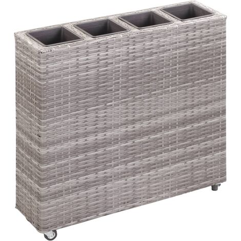 Garden Raised Bed with 4 Pots 80x22x79 cm Poly Rattan Grey