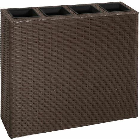 Garden Raised Bed with 4 Pots Poly Rattan Brown