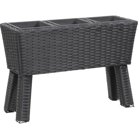 Garden Raised Bed with Legs and 3 Pots 72x25x50 cm Poly Rattan Black