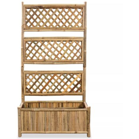 Garden Raised Bed with Trellis Bamboo 70 cm