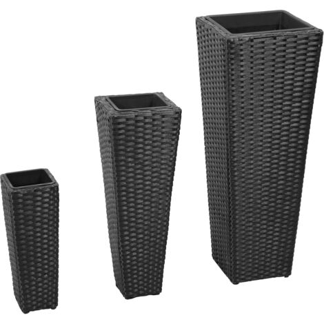 Garden Raised Beds 3 pcs Poly Rattan Black
