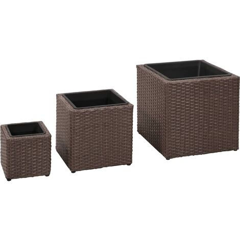 Garden Raised Beds 3 pcs Poly Rattan Brown