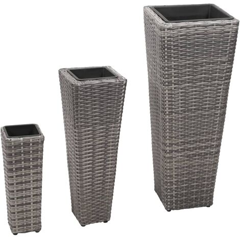Garden Raised Beds 3 pcs Poly Rattan Grey