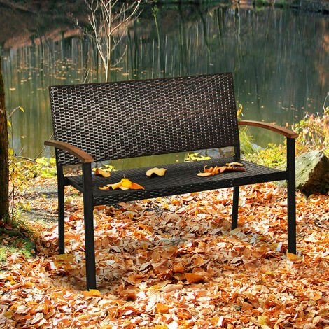 """main image of """"Garden Rattan Bench Patio 2 Seat Wicker Loveseat Chair Outdoor Furniture Seating"""""""