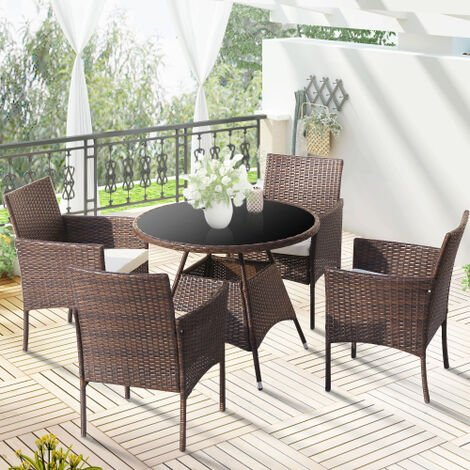 """main image of """"Garden Rattan Dining Table with 4 Chairs"""""""