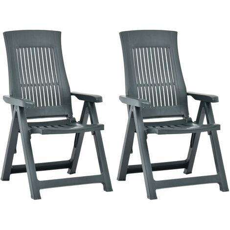 Garden Reclining Chairs 2 pcs Plastic Green