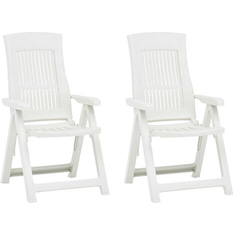 Garden Reclining Chairs 2 pcs Plastic White