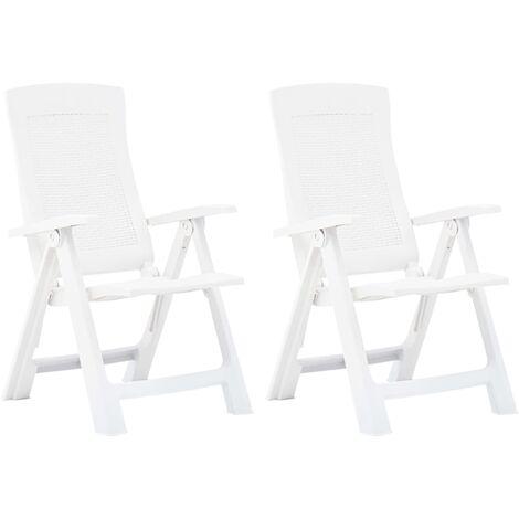 Garden Reclining Chairs 2 pcs Plastic White