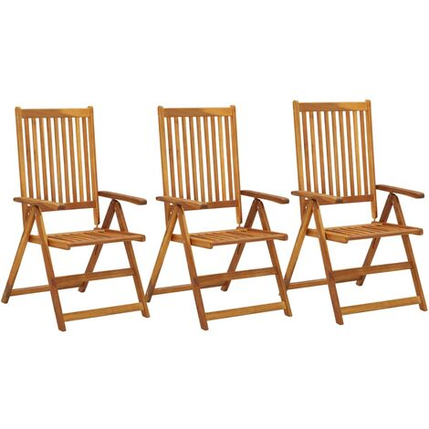 Garden Reclining Chairs 3 pcs Solid Acacia Wood