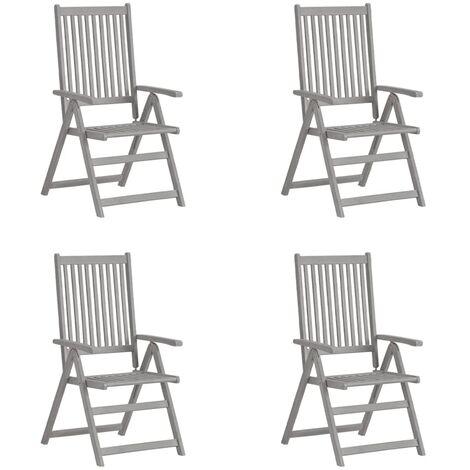 Garden Reclining Chairs 4 pcs Grey Solid Acacia Wood