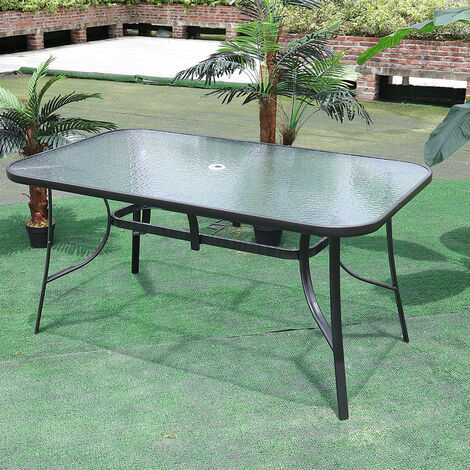 Garden Ripple Glass Rectangle Table With Umbrella Hole