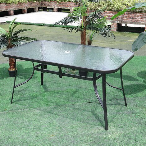Garden Ripple Glass Rectangle Table With Umbrella Hole