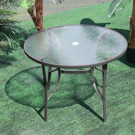 Garden Ripple Glass Round Table With Umbrella Hole