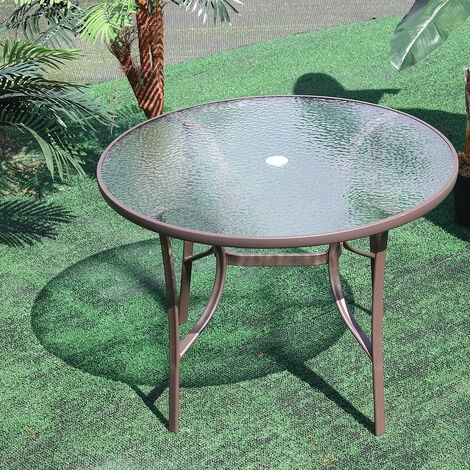 """main image of """"Garden Ripple Glass Round Table With Umbrella Hole"""""""