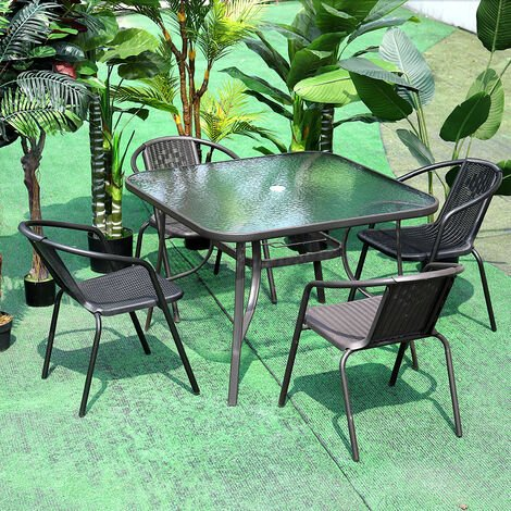 Garden Ripple Glass Square Table And Stackable Chair Set With Umbrella Hole, Black Table + 2 Chairs