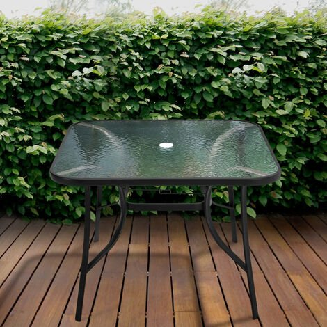 Garden Ripple Glass Square Table And Stackable Chair Set With Umbrella Hole, Only Black Table
