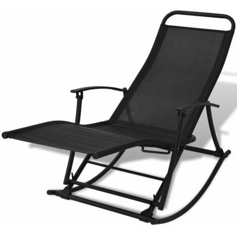 Garden Rocking Chair Steel and Textilene Black