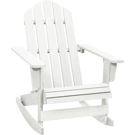 Garden Rocking Chair Wood White - White