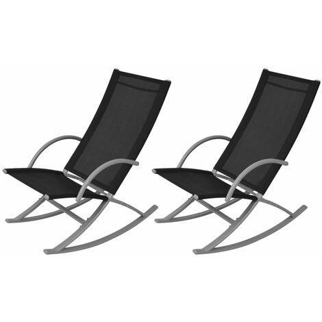 Garden Rocking Chairs 2 pcs Steel and Textilene Black - Black
