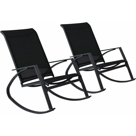 Garden Rocking Chairs 2 pcs Textilene Black
