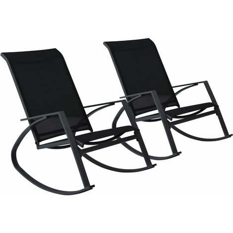 Garden Rocking Chairs 2 pcs Textilene Black