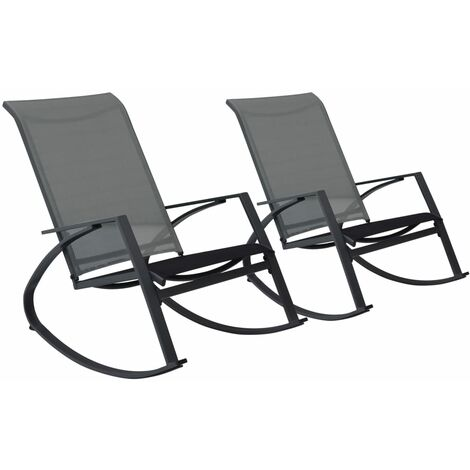 Garden Rocking Chairs 2 pcs Textilene Dark Grey - Grey
