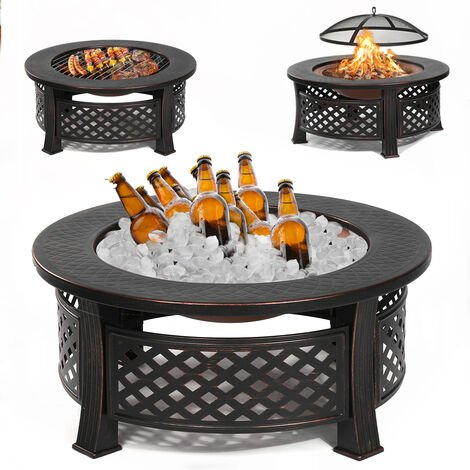 Garden Round Fire Pit Patio Brazier Fireplace Heater