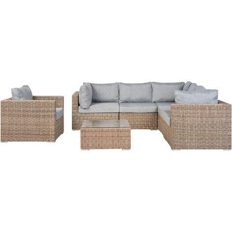 Garden Sectional Lounge Set Brown PE Rattan Corner Sofa Grey Cushions Contare