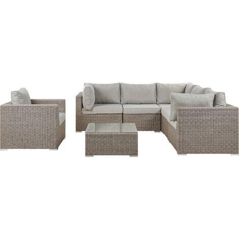 Garden Sectional Lounge Set Taupe PE Rattan Corner Sofa Grey Cushions Contare