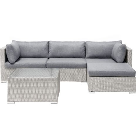 """main image of """"Garden Sectional Sofa Square Coffee Table Beige Wicker Rattan Grey Cushions Sano"""""""