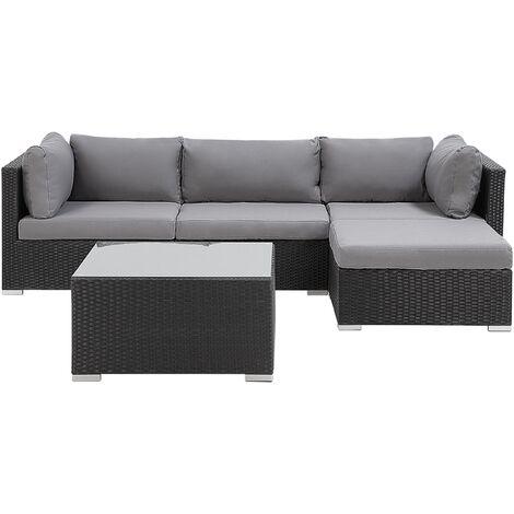 Garden Sectional Sofa w/ Square Coffee Table Black Wicker Rattan Grey Cushions Sano