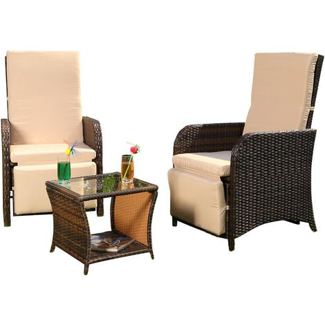 Garden set 2 armchairs and table Polyrattan seating set Garden furniture Lounge Brown