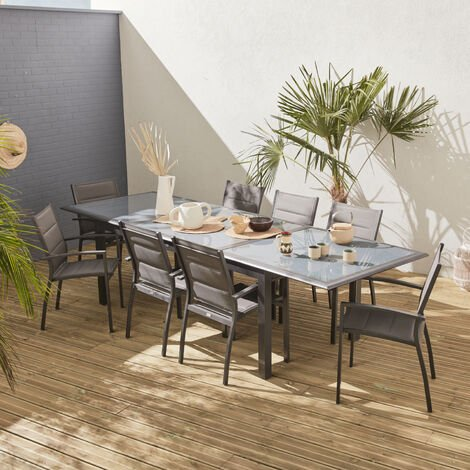Garden set with extending table - Anthracite grey Philadelphia - 200/300cm aluminium table with 8 textilene armchairs