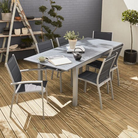 Garden set with extending table - Grey Chicago 210 - 150/210cm aluminium table with extension and 6 textilene chairs