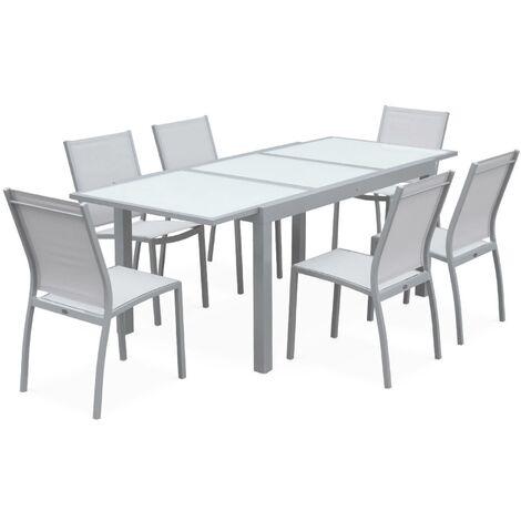 Garden set with extending table - Light grey Orlando - 150/210cm aluminium table with 6 textilene chairs