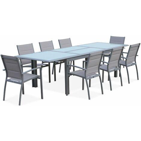 Garden set with extending table - Light grey Philadelphia - 200/300cm aluminium table with 8 textilene armchairs