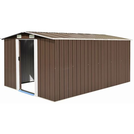 Garden Shed 257x398x178 cm Metal Brown