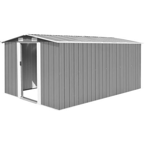Garden Shed 257x398x178 cm Metal Grey - Grey