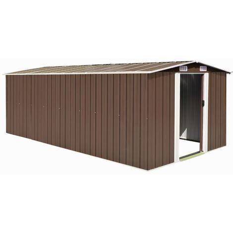 Garden Shed 257x497x178 cm Metal Brown