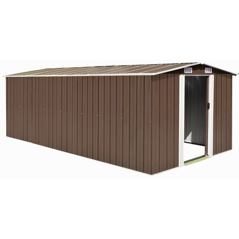 Garden Shed 257x497x178 cm Metal Brown - Brown