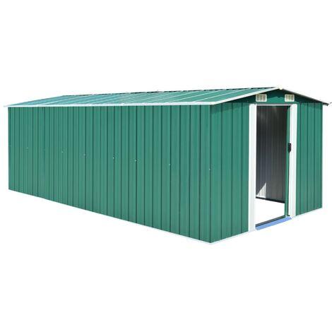 Garden Shed 257x497x178 cm Metal Green