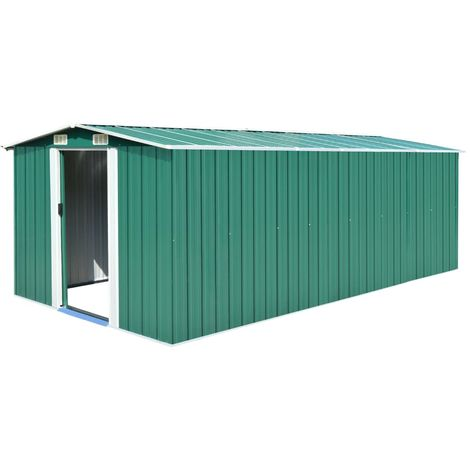 Garden Shed 257x497x178 cm Metal Green